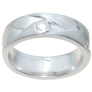 Sterling Silver Venetian Polish Round Cut CZ Accent 6.5 mm Cross Over Style Wedding Band