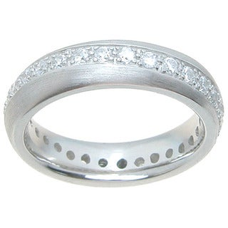 Sterling Silver Venitian Finish Round Cut CZ 5mm Eternity Wedding Band