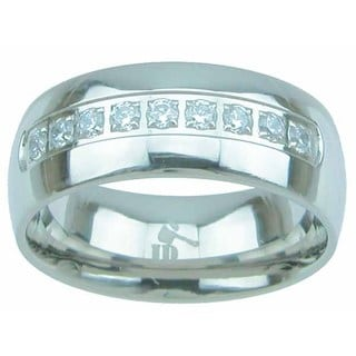 Titanium High Polish Round Cut CZ 8mm Men's Wedding Band
