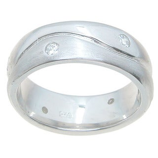 Sterling Silver Venitian Finish 6.5mm Round Cut CZ 1/4 TCW Accent Wedding Band