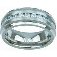 High Polish Titanium Band Round Cut CZ 3 TCW Beveled 8 mm Men's Wedding Band