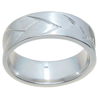 Sterling Silver Ventian Finish 7mm Cross Over Style Wedding Band