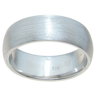 Sterling Silver Venitian Finish 7mm Plain Dome Style Wedding Band