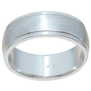 Sterling Silver Venitian Finish 8.5mm Beveled Wedding Band