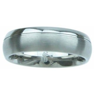 Titanium High Polish 6mm Beveled Men's Wedding Band