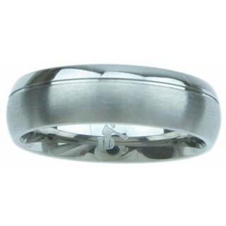 Titanium High Polish 6mm Beveled Men's Wedding Band - Silver