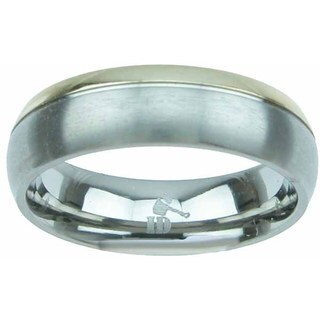Titanium Venetian Finish Two Tone Beveled 6mm Men's Wedding Band