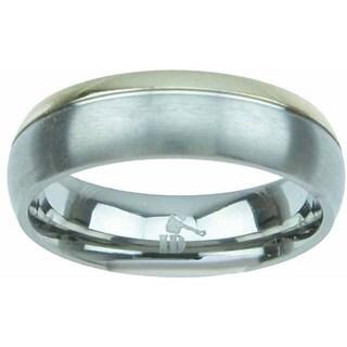 Titanium Venetian Finish Two Tone Beveled 6mm Men's Wedding Band - Silver