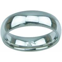 Titanium High Polish Dome Style 6mm Men's Wedding Band - Silver