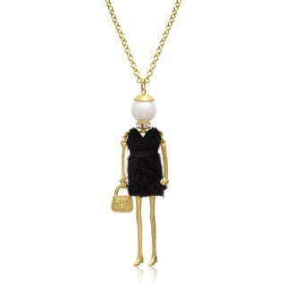 Girl Takes Nyc Doll Necklace With Pearl And Crystal, 28 Inches