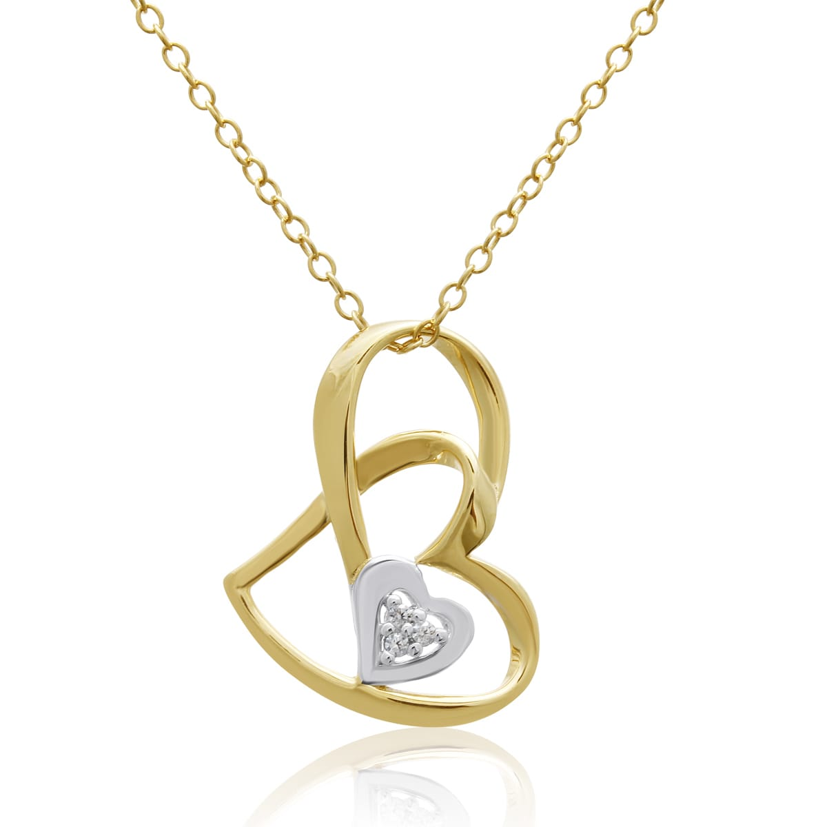 Yellow Gold Over Sterling Silver Double Floating Heart Ne...