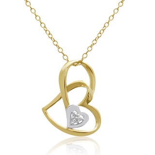 14K Yellow Gold Over Sterling Silver Double Floating Heart Necklace With Cubic Zirconia Accents, 18