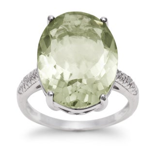 10 1/2 TGW Oval Shape Green Amethyst and Diamond Ring In Sterling Silver