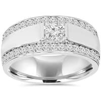10K White Gold 1 7/ 8 TDW Diamond Double Row Mens Ring