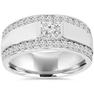 10K White Gold 1 7/ 8 TDW Diamond Double Row Mens Ring