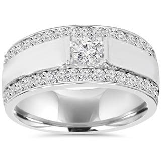 10k white gold 1 7 8 tdw diamond double row mens ring - Diamond Wedding Rings For Men