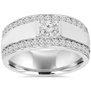 10k white gold 1 7 8 tdw diamond double row mens ring - Mens Wedding Rings With Diamonds