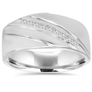 10K White Gold 1/6 TDW Mens Diamond Ring