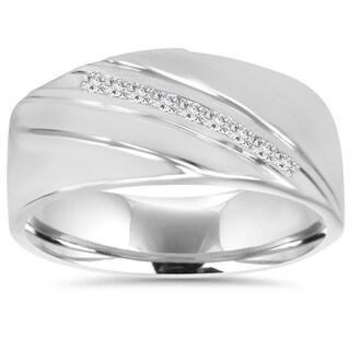 10K White Gold 1/6 TDW Mens Diamond Ring