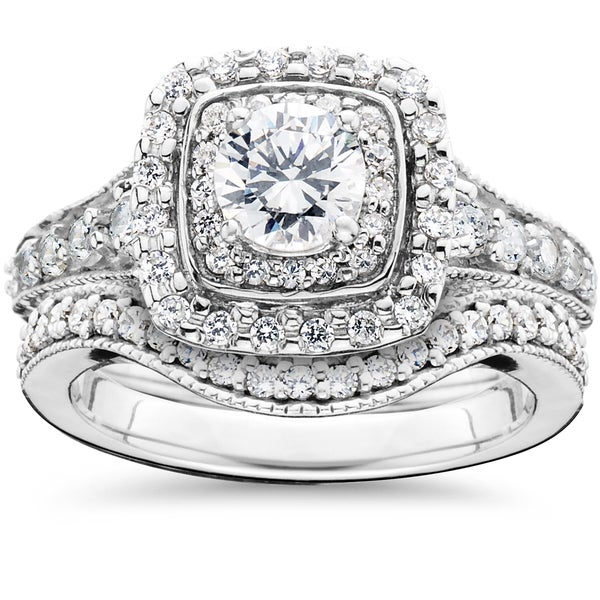 14k White Gold 1 5 8ct TDW Double Halo Vintage Engagement Wedding Ring Set