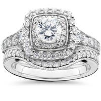 14k White Gold 1 5/ 8ct TDW Double Halo Vintage Engagement Wedding Ring Set