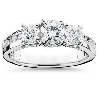 14k White Gold 2 ct TDW Diamond Three Stone Ring