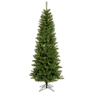 "4.5' x 24"" Salem Pencil Pine Tree with 150 Multi-Colored LED Lights"