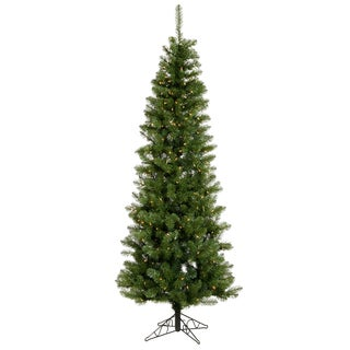7.5' Pre-Lit LED Salem Pine Pencil Artificial Christmas Tree - Clear Lights