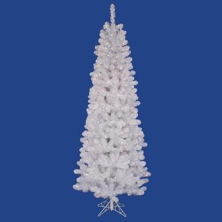 "7.5' x 36"" White Salem Pencil Pine Tree with 300 Warm White LED Lights"