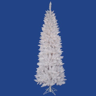 "7.5' x 34"" Sparkle White Spruce Pencil Tree with 300 Frosted Pure White LED Lights"