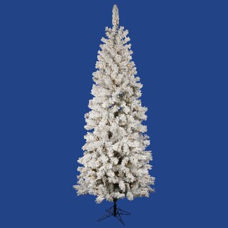 "5.5' x 30"" Flocked Pacific Tree with 200 Warm White LED Lights"