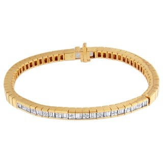14k Yellow Gold 1 1/5ct TDW Princess/ Baguette-cut Diamond Bracelet (H-I, SI1-SI2)