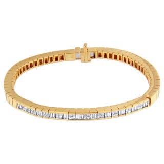 14K Yellow Gold 1 1/5ct. TDW Princess/ Baguette-cut Diamond Bracelet (G-H,VS1-VS2)|https://ak1.ostkcdn.com/images/products/10604032/P17676294.jpg?impolicy=medium