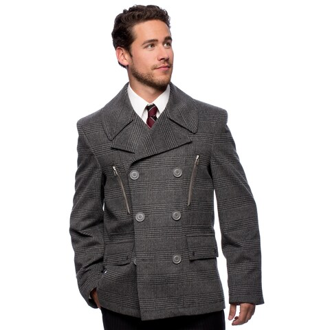 """West End Young Men's """"Willard"""" Grey Double Breasted Pea Coat"""