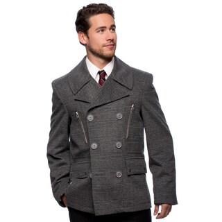 "West End Young Men's ""Willard"" Grey Double Breasted Pea Coat"