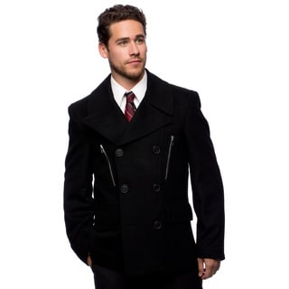 "West End Young Men's ""Willard"" Black Double Breasted Pea Coat"