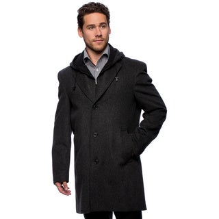 "West End Men's ""Westley"" Black Hooded Pea Coat"