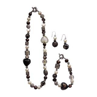 3-piece Fancy Brown Heart Pearl Jewelry Set