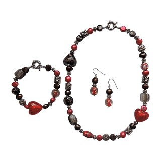 3-piece Fancy Red Heart Pearl/ Glass Jewelry Set