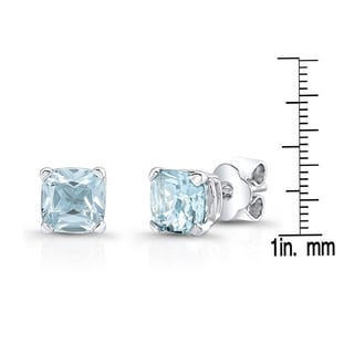 14k White Gold 8mm Cushion-cut Aquamarine Stud Earrings