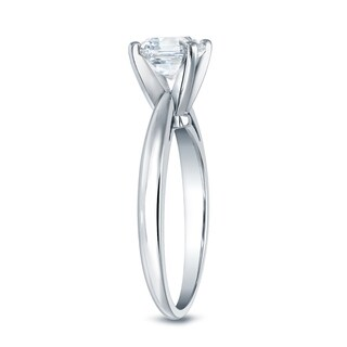 Auriya 14k Gold 1ct TDW Certified Assher-Cut Diamond Solitaire Engagement Ring