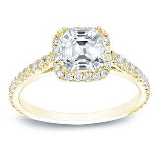 Auriya 14k Gold 1 1/2ct TDW Certified Assher-cut Diamond Engagement Ring (E-VVS2)