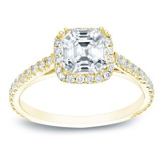 Auriya 14k Gold 1 1/2ct TDW GIA Certified Assher-cut Halo Diamond Engagement Ring (More options available)