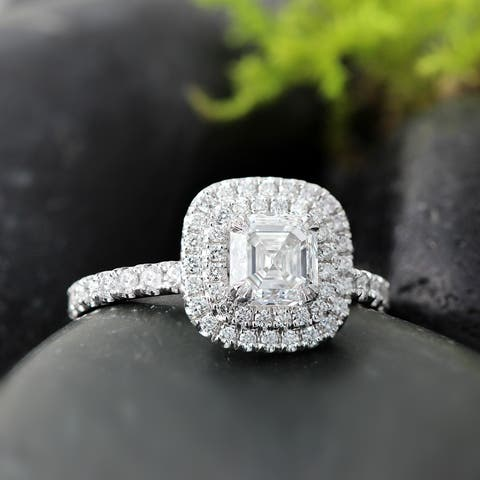 Auriya 1 3/4ctw Double Halo Asscher Cut Diamond Engagement Ring 14k Gold GIA Certified