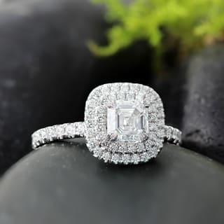 Wedding rings for less overstock auriya 14k gold 1 34ct tdw certified asscher cut diamond halo engagement ring junglespirit Images