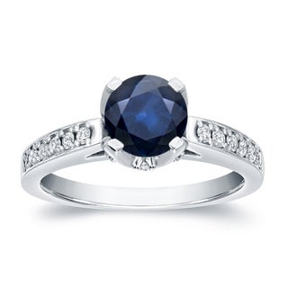 Auriya 14k Gold 1ct Blue Sapphire and 1/3ct TDW Round-cut Diamond Engagement Ring (H-I, SI1-SI2)
