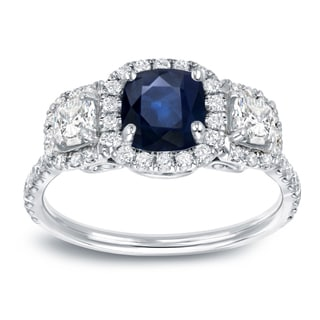 Auriya 14k White Gold 1ct Blue Sapphire and 1ct TDW Diamond Enggaement Ring (H-I, VS1-VS2)