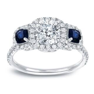 Auriya 14k White Gold Sapphire and Diamond 3-Stone Halo Engagement Ring|https://ak1.ostkcdn.com/images/products/10604136/P17676380.jpg?impolicy=medium