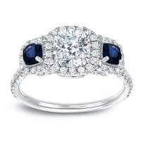 Auriya 14k White Gold  3-Stone Certified Cushion-Cut 1ct. Diamond and 2/5ct Sapphire Halo Engagement Ring