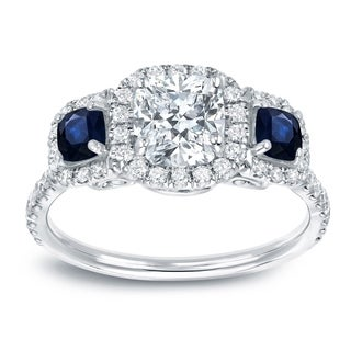 Auriya 14k White Gold Sapphire and Diamond 3-Stone Halo Engagement Ring